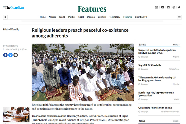 Religious leaders preach peaceful co-existence amo