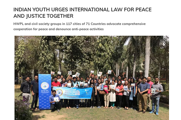 Indian Youth Urges International Law For Peace and