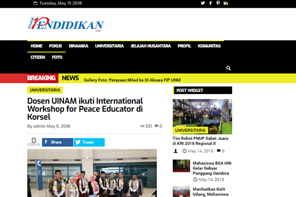 Dosen UINAM ikuti International Workshop for Peace