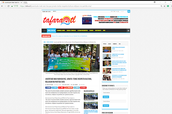 Juventude Mak Nain ba Paz, Jonato: Tenke Respeita